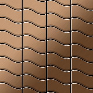 Mosaik Fliese massiv Metall Titan gebürstet in kupfer 1, 6mm stark ALLOY Flux-Ti-AB Designed by Karim Rashid 0, 86 m2