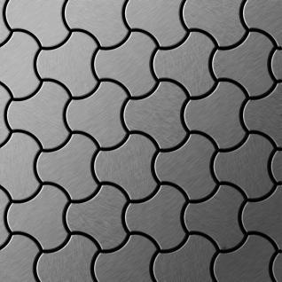 Mosaik Fliese massiv Metall Edelstahl marine gebürstet in grau 1, 6mm stark ALLOY Ubiquity-S-S-MB Designed by Karim Rashid 0, 75 m2