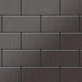 Mosaik Fliese massiv Metall Titan gebürstet in dunkelgrau 1, 6mm stark ALLOY Subway-Ti-SB 0, 58 m2