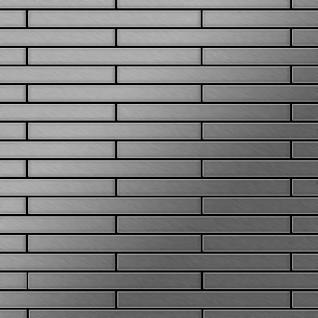 Mosaik Fliese massiv Metall Edelstahl gebürstet in grau 1, 6mm stark ALLOY Avenue-S-S-B 0, 74 m2