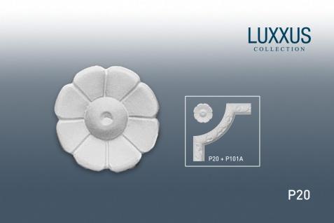 Eckelement Stuck Rosette Orac Decor P20 LUXXUS Blume Stuckgesims Decken Wand Dekor Element | 6, 5 cm Durchmesser