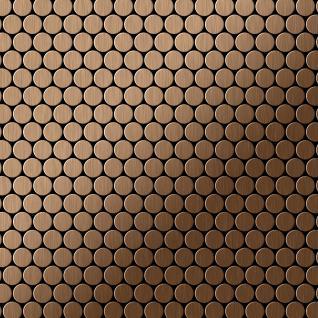 Mosaik Fliese massiv Metall Titan gebürstet in kupfer 1, 6mm stark ALLOY Penny-Ti-AB 0, 92 m2