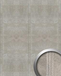 Wandpaneel Leder Blickfang WallFace 15006 LEGUAN Design Dekor Echtnaht selbstklebende Tapete Wandbelag silber | 2, 60 qm