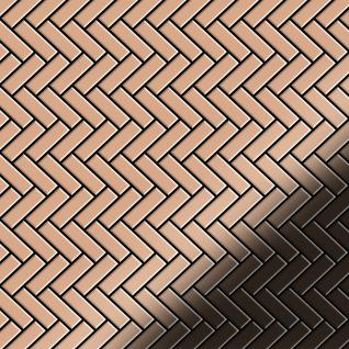 Mosaik Fliese massiv Metall Kupfer gewalzt in kupfer 1, 6mm stark ALLOY Herringbone-CM 0, 94 m2