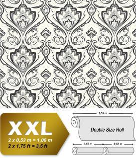 Barock Tapete XXL Vliestapete EDEM 993-30 Elegantes Damastmuster hochwertige Luxus Tapete schwarz weiß glitzer 10, 65 m2
