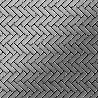 Mosaik Fliese massiv Metall Edelstahl marine gebürstet in grau 1, 6mm stark ALLOY Herringbone-S-S-MB 0, 94 m2