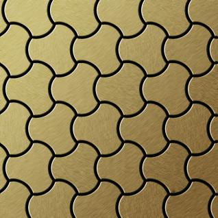 Mosaik Fliese massiv Metall Titan gebürstet in gold 1, 6mm stark ALLOY Ubiquity-Ti-GB Designed by Karim Rashid 0, 75 m2
