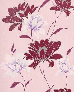 Blumen Tapete EDEM 168-34 Floral Landhaus Blumentapete Designer Vinyltapete Violettrot hellrosa weiß lila silber