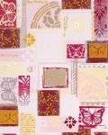 Grafik Tapete EDEM 071-24 Scrapbooking Schmetterlinge Funky Design fühlbare Struktur Weiß rosa rot grau