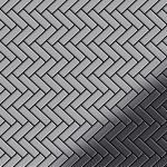 Mosaik Fliese massiv Metall Edelstahl marine hochglänzend in grau 1, 6mm stark ALLOY Herringbone-S-S-MM 0, 94 m2