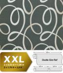 Grafik Tapete Vliestapete EDEM 694-96 70er Serpentine Muster Linien Glitzereffekt basalt-grau silber-weiß 10, 65 qm