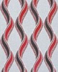 Grafische Tapete EDEM 1025-14 Buntsteinputz geschwungene Linien mit Ornamenten hellgrau grau rot silber