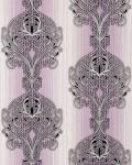 3D Barock Tapete EDEM 096-24 Tapete Damask prunkvolle Ornament-Designs violett flieder weiß silber schwarz   5, 33 qm