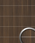 Wandverkleidung Holz Optik WallFace 19099 NUTWOOD 8L Nussbaum Dekor Metall Lisenen gebürstet Wandpaneel selbstklebend dunkelbraun 2, 60 qm