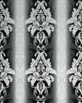 3D Barock-Tapete Damask EDEM 770-30 Luxus Tapete hochwertige 3D Brokat Struktur schwarz weiß anthrazit silber
