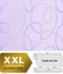 Grafik Tapete Vliestapete EDEM 694-92 70er Jahre Muster geschwungene Linien Glitzereffekt hell-violett lavendel 10, 65 qm