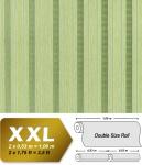 Streifen Tapete Vliestapete EDEM 640-95 Textilstruktur mit Karomuster XXL Tapete grün olivegrün silber 10, 65 qm