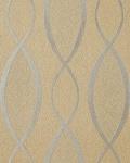 Retro Tapete EDEM 1018-13 Retrotapete Geschwungene Designer Linien mit Ornamenten 70er Style dezent glitzernd braun beige silber