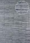 Streifen Tapete Atlas 24C-6505-3 Vliestapete glatt mit grafischem Muster und Metallic Effekt silber platin grau-weiß 7, 035 m2