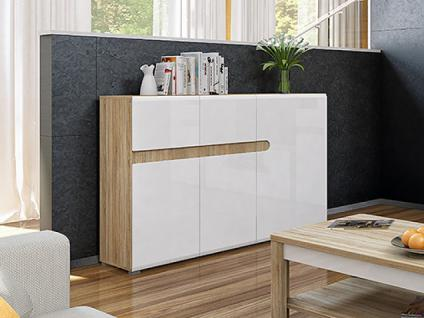 kommode sideboard sonoma eiche weiss online kaufen yatego. Black Bedroom Furniture Sets. Home Design Ideas