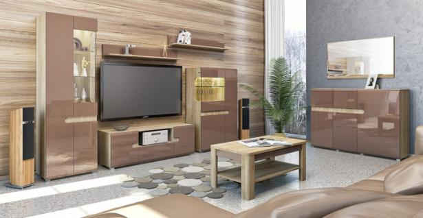 wohnwand cappuccino hochglanz g nstig online kaufen yatego. Black Bedroom Furniture Sets. Home Design Ideas