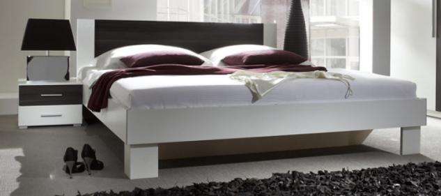 bett doppelbett 160x200cm mit 2 nachtkonsolen wei nussbaum schwarz neu kaufen bei feldmann. Black Bedroom Furniture Sets. Home Design Ideas