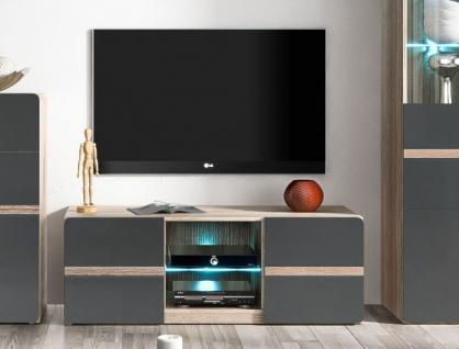 lowboard tv element eiche s gerau anthrazit matt 120cm. Black Bedroom Furniture Sets. Home Design Ideas