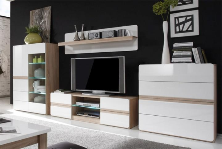 wohnwand anbauwand 4 teilig sonoma eiche wei hochglanz neu kaufen bei feldmann wohnen gmbh. Black Bedroom Furniture Sets. Home Design Ideas