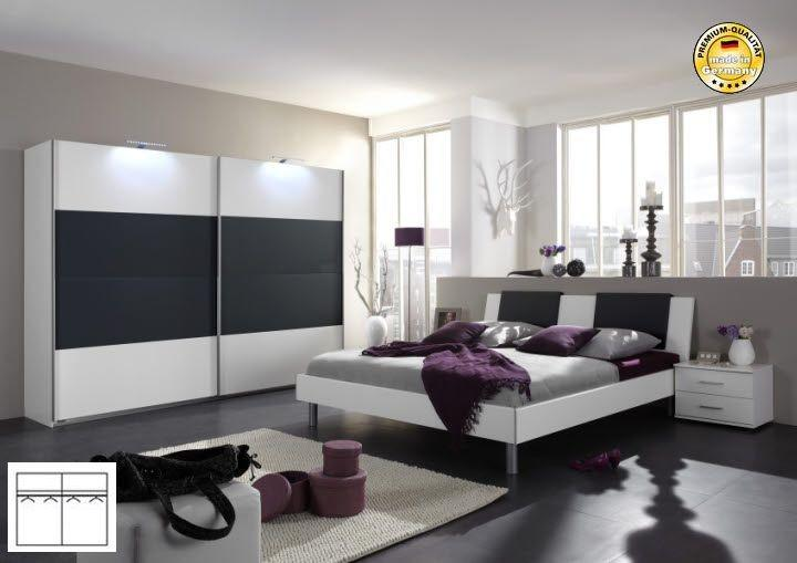 komplett schlafzimmer alpinweiss anthrazit schwebet renschrank 225cm bett 140 kaufen bei. Black Bedroom Furniture Sets. Home Design Ideas