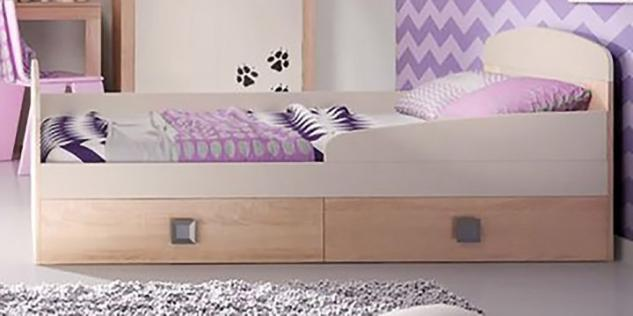 kinderbett 80 cm 160 cm sonoma eiche vanille mit 2 schubk stenneu kaufen bei feldmann. Black Bedroom Furniture Sets. Home Design Ideas