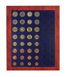 LINDNER 2485B-2506M Chassis Rahmen Münzenboxrahmen Münzvitrine Rosenholz Echhtholz + Münzbox Marine Blau 6x Euro KMS Kursmünzensätze 1 Cent - 2 Euromünzen