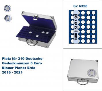 SAFE 238 ALU Länder - Münzkoffer SMART 5 Euro Blauer Planet 2016 - 2021 mit 6 Tableaus 6328 für 210 Gedenkmünzen bis 27, 5 mm