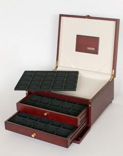 LINDNER KABINETT Münzkassetten + Ablagefach + 2 Schuber + 6 Tableaus 2122CE für 120 Münzrähmchen - Carree - Octo & Leuchtturm Quadrum Münzkapseln