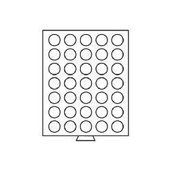 Leuchtturm 304024 Münzbox Münzboxen 35 runde Fächer 32 mm 10 Euro - DM 20 Sfr. 1 Kanada Dollar MBG35R/32 Grau