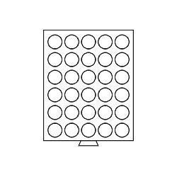 Leuchtturm 321186 Münzbox Münzboxen 30 runde Fächer 37 mm 10 FF 1 Unze Mexiko 5 Sfr bis 1928 MBG30R/37 Grau