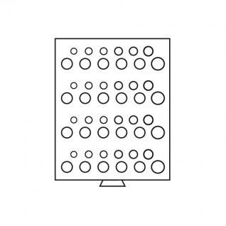 Leuchtturm 307014 Münzbox Münzboxen 48 runde Fächer 4 x Deutsche Kursmünzensätze KMS 1 Pf - 5 DM MBSETD4 Rauchfarbend