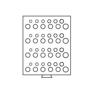 Leuchtturm 312762 Münzbox Münzboxen 48 runde Fächer 4 x Deutsche Kursmünzensätze KMS 1 Pf - 5 DM MBGSETD4 Grau - Vorschau