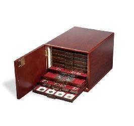 Leuchtturm 301415 Münzbox Kabinett für 10 Standard Münzboxen Mahagonifarben mit Holzmaserung (leer)
