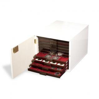 Leuchtturm 300107 Münzbox Kabinett für 10 Standard Münzboxen Weiss Hochglanz mit Holzmaserung (leer) - Vorschau