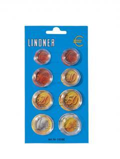 20 x Lindner 2250E Münzkapseldisplay 8 Münzkapseln für Euro Kursmünzen Satz KMS 1 Cent - 2 Euro