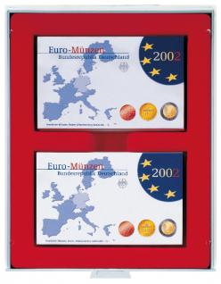 Lindner 2408 Münzboxen Sammelboxen 6 x original Euro Kursmünzensätze PP - 24 x DM KMS ST in Folie hellrot Standard Grau - Vorschau