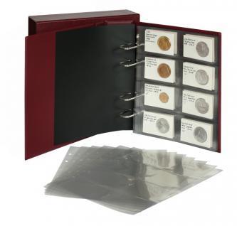LINDNER 1302RC Multi Collect REBECK COIN L Ringbinder Münzalbum Münzrähmchen in Wein Rot + passender Kassette + 10 x Münzblätter MU1364