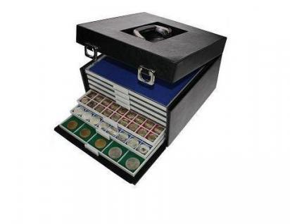 SAFE 6601 B - BEBA MÜNZBOXEN MB ohne Facheinteilung ca. 280 x 280 mm + blaue Filzeinlagen für große Münzen Medaillien Pins - Vorschau