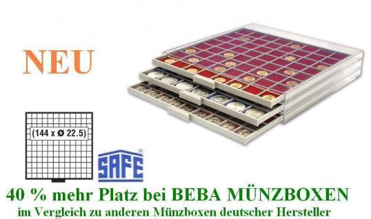SAFE 6612 R BEBA MÜNZBOXEN MB 144 quadratische Fächer 22,5 mm + rote Filzeinlagen