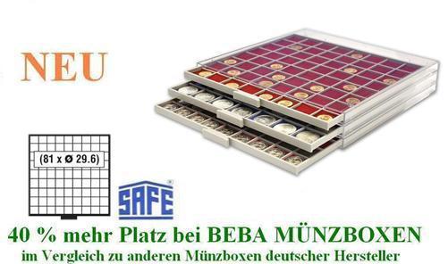 SAFE 6609 R BEBA MÜNZBOXEN MB 81 quadratische Fächer 29,6 mm + rote Filzeinlagen