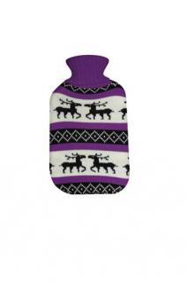 ALSS Wärmflaschen 1 Liter Schweden Elch mit Strickbezug Bettflasche - Lila Weiss Schwarzen Rollkragen Pullover Design - Vorschau 1