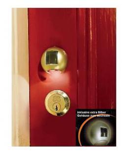 SOLAR Power Schlüsselloch Schlüssellicht Licht LED Lampe mit 2 Gehäusen Silber + Gold für Haustüren Garagentor Reisemobil Wohnwagen Beleuchtung