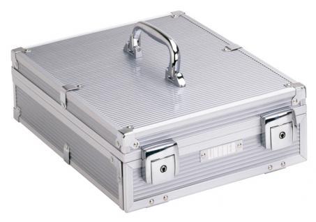 LINDNER 2354 Boxen-Koffer Münzboxenkoffer Koffer Aluminium (leer) für 4 Münzboxen