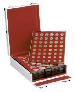 LINDNER 2354B Boxen-Koffer Koffer Aluminium KLEIN mit 4 Münzboxen Standard Rauchglas FREIE AUSWAHL