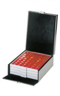 LINDNER 2314B Boxen-Koffer COMPACT Koffer KLEIN mit 4 Münzboxen oder 2 Sammelboxen Standard Rauchglas FREIE AUSWAHL